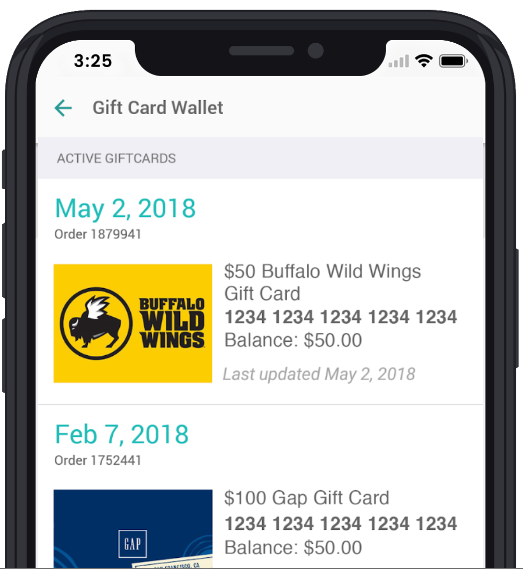 Wallet screen